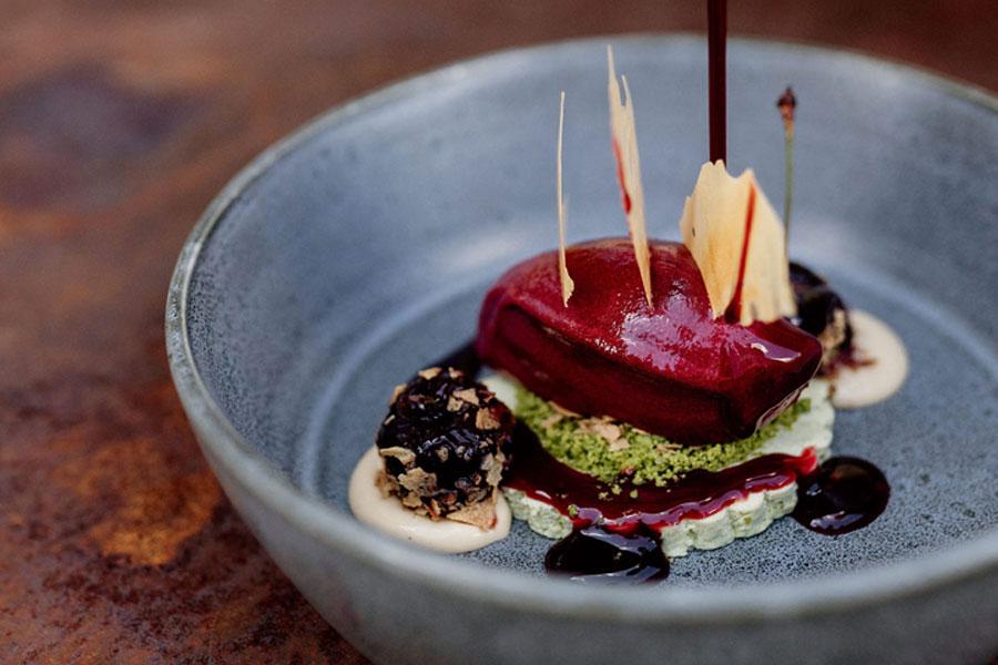 Dessert vo Harald Rüssel, im Gourmetrestaurant